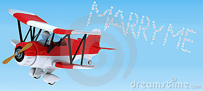 Man sky writing in a biplane
