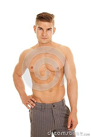 Free Man Slacks No Shirt Looking Royalty Free Stock Photography - 43425337