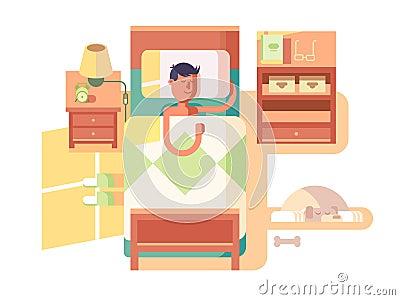 Man sleep in bed Vector Illustration