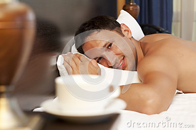 Man sleeping on a bed