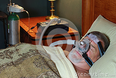Man Sleeping (Front View) with CPAP and Oxygen