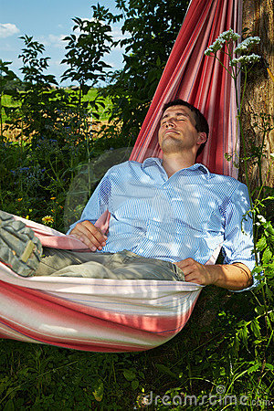 Man sleeping in hammock