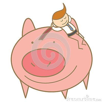 man sleeping on his saving pig
