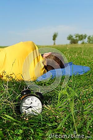 Free Man Sleeping On Summer Lawn Stock Photos - 19452783