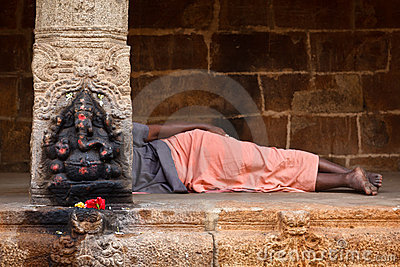 Man sleeping in temple