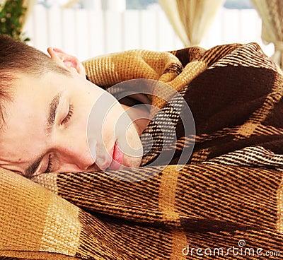 Free Man Sleeps Royalty Free Stock Image - 22503446