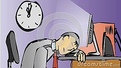 Man sleeps at the computer