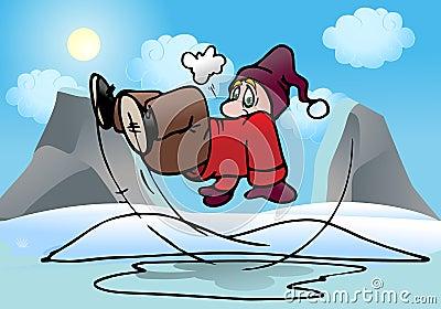 Man slip on ice pool