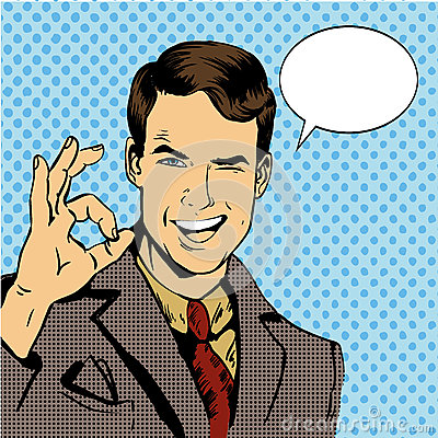 Free Man Smile And Shows OK Hand Sign With Speech Bubble. Vector Illustration In Retro Comic Pop Art Style Royalty Free Stock Photography - 74414807