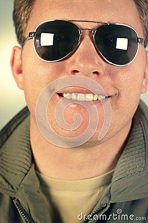 Man smiles