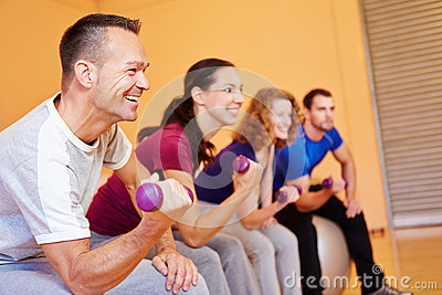 Man smiling in fitness class