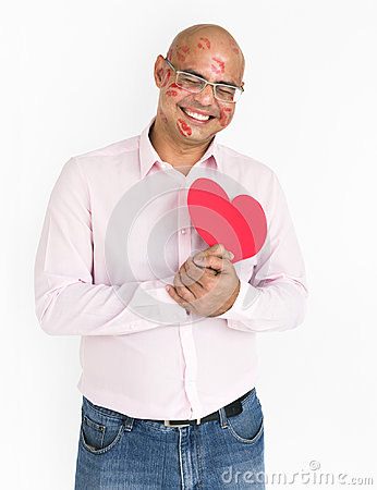 Free Man Smiling Happiness Lipstick Kiss Love Romance Heart Portrait Stock Image - 96005851