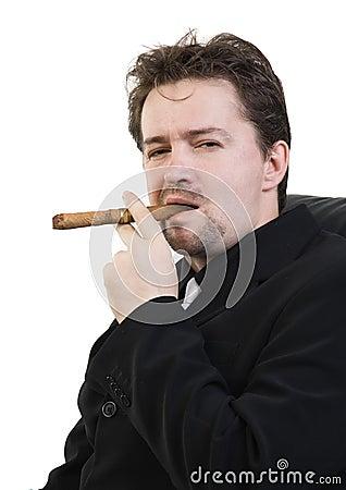 Man smokes cigar