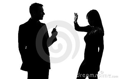 man smoking cigarette and woman disturbed