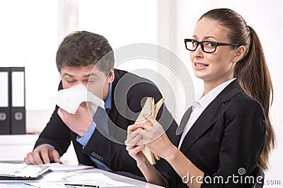 Man sneezing.