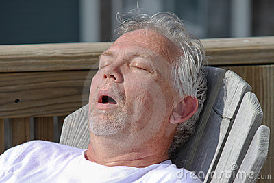 Man Snoring Outdoor Nap