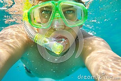 Man snorkeling portrait