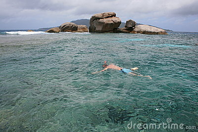 Man Snorkelling in deep green sea