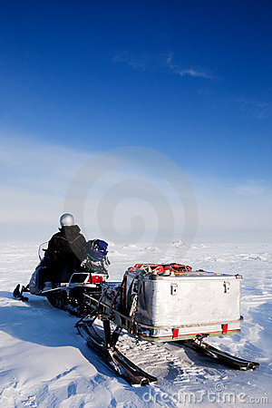 Man with Snowmobile