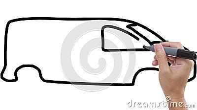 Man som skissar skåpbilen/bussen på whiteboardbakgrund stock video