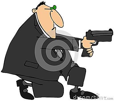 Man som tar syfte med ett vapen