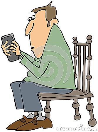 Man som texting på en mobiltelefon