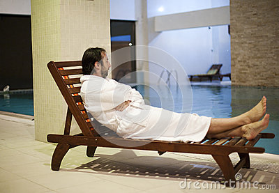Man at the spa center
