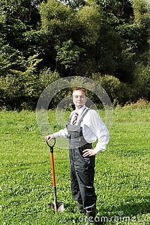 Man and spade.