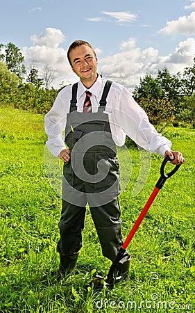 Man with a spade.