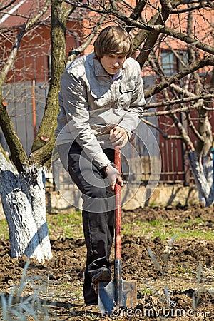Man with spade