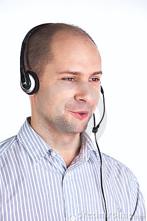 Man speaking with headset