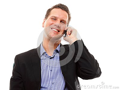 Man speaking on his mobile and smiling