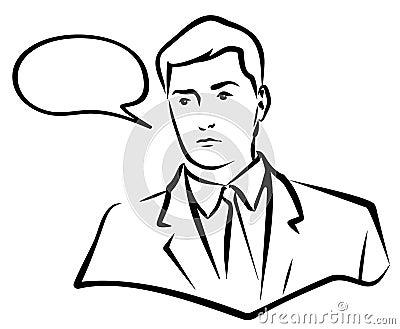 Man speaking. JPG and EPS