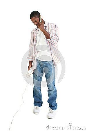 Man Speaking on Telephone