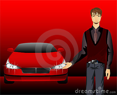 Man and sporting car