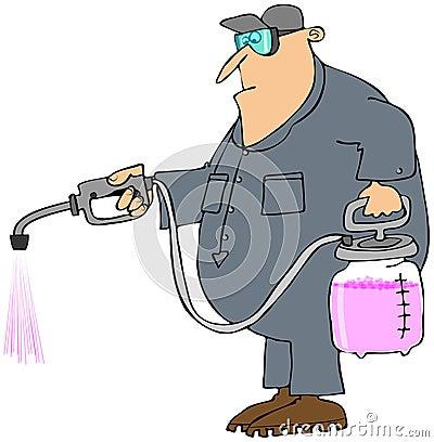 Man spraying chemicals