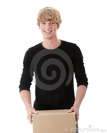 Man with stacked Boxes