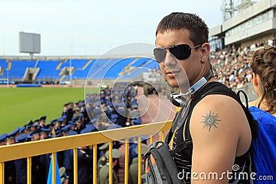 The man in the stadium.