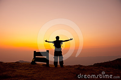 Man stand on mountain