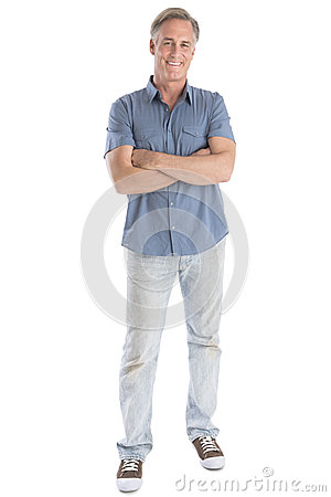 Free Man Standing Arms Crossed Against White Background Stock Photos - 32429973
