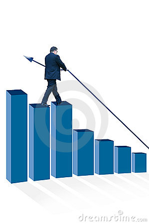 Man standing on bar chart