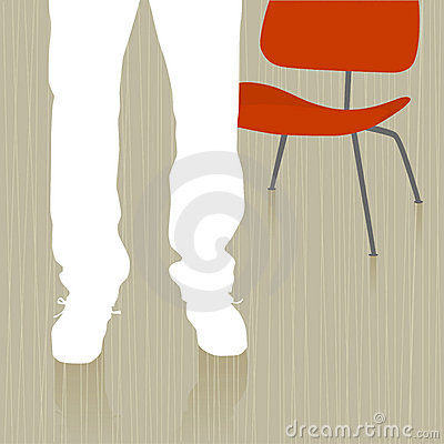 Man Standing by Chair