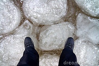 Man standing on the ice.