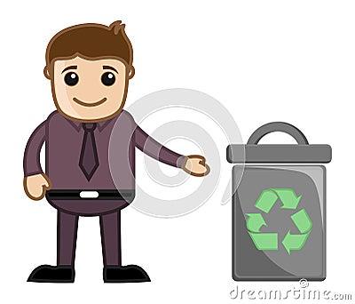 Man Standing Near Trash Bin