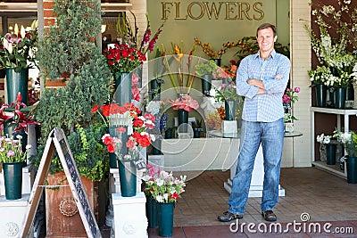 Man standing outside florist