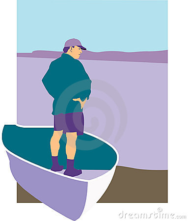 Man standing in rowboat