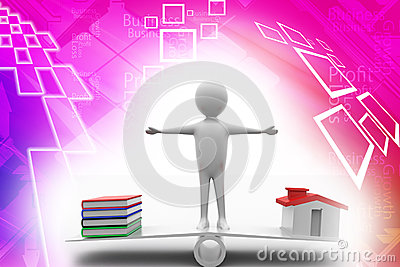 Man standing in see saw with books and houses Illu