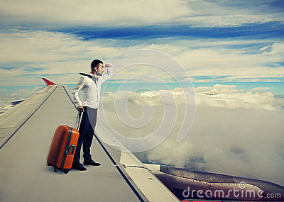 Man standing on the wing