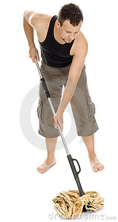 Free Man Standing With Hand On Mop Stock Photos - 5222633