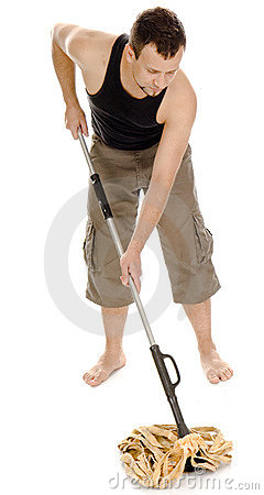 Free Man Standing With Hand On Mop Stock Photos - 6279663